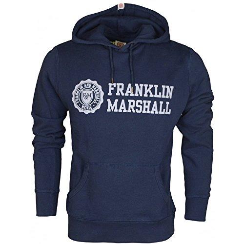 Franklin-Marshall-VA091-Printed-Grey-Logo-Navy-Hoodie