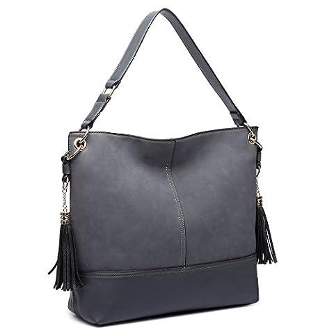 Miss Lulu Women Shoulder Bag Frosted Leather Slouch Hobo Tassel Handbag (Grey)