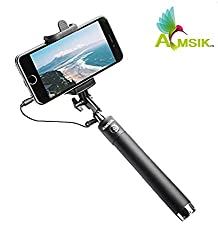 AMSIK Selfie Stick mini with Aux cable For Apple Iphone 7 Plus - Black