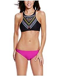Kaamastra Womens Gypsy Halter Tankini & Basic Teeny Bottom Swimsuit(KA_LC41661,Multi-Coloured,Freesize)