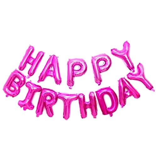 Doitsa Globos de cumpleaños Feliz de Letras Pancarta Happy Birthday película de Aluminio Globos, Condecoraciones cumpleaños artículos de Fiesta–Rosa Rojo
