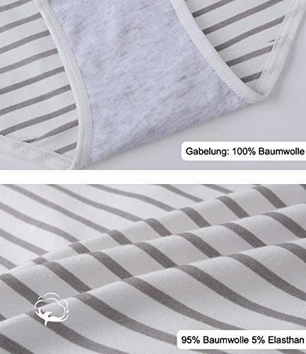 INNERSY Damen Slips Baumwolle Mehrpack Schwarz Streifen Panty Hipsters 6er Pack (46, Schwarz/Grau/Streifen) - 4