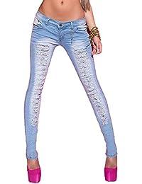 Blanco Store - Jeans Donna Strappati Pantaloni Denim Stretch Effetto  Used-Look a911466c54e