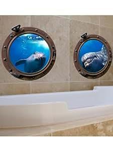 Imagicom WALLDEC222 Porthole Submarine Dolphins, PVC, 0.1x42.5x30.5 cm
