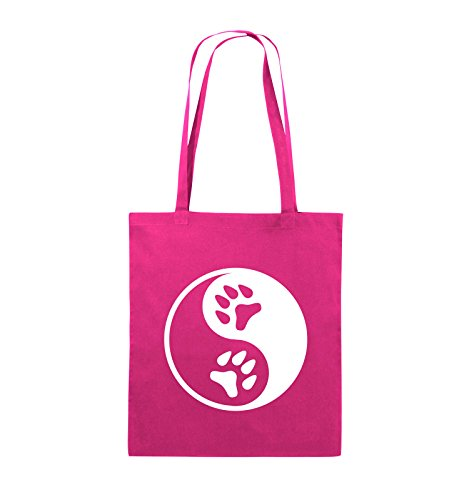 Comedy Bags - YING YANG - PFOTE2 - Jutebeutel - lange Henkel - 38x42cm - Farbe: Schwarz / Silber Pink / Weiss