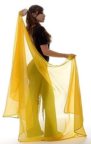 Voile demi-lune de danse orientale jaune avec bordure doré