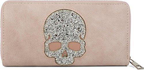styleBREAKER Geldbörse mit Pailletten Totenkopf Applikation, umlaufender Reißverschluss, Portemonnaie, Damen 02040085, Farbe:Rose