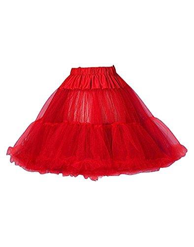 Bridal_Mall Damen Kurz Tutu Petticoat für Abendkleider Ball Promkleider Unterrock Unterkleid Rot