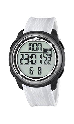Calypso-Reloj Digital Unisex con LCD Pantalla Digital Dial y Correa de plástico Color Blanco k5704/5...