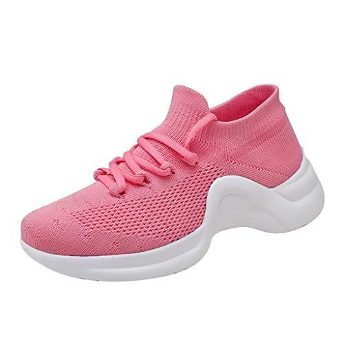 Abvenc Scarpe da Ginnastica Corsa in Mesh Donna, Sneakers da Sportive con Suola Spessa Fitness Running Leggero per All'aperto (Rosa, EU:38)