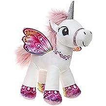 Unicornio con alas de pie 34 cm color blanco/rosa - Calidad supersoft