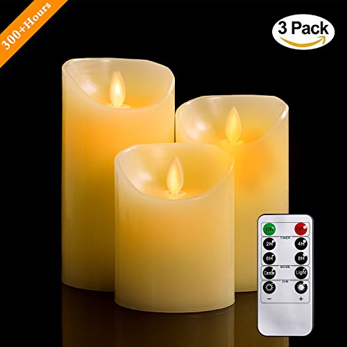 4/5/6 cm Set of 3 Real Wax Flameless Pillar Candles Not Plastic LED Candles with Realistic Dancing LED Flame and 10 Keys Remote Control with 2/4/6/8 Hour Timer Function, 300 + Hours Yiwer (3x1, Ivory)