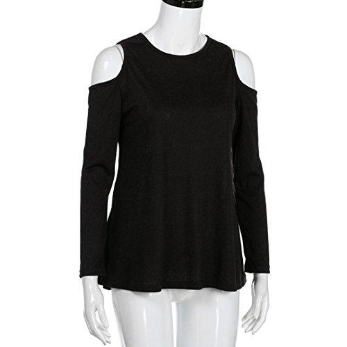 Momola Femme Col Rond Manches Longues T-Shirt Bustier sans Bretelles Mode Simple Plus Taille Tops Noir