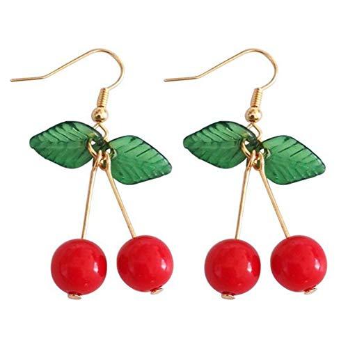 ucht grünes Blatt rote Kirsche baumeln Frauen Ohrbügel Ohrclips Schmuck Ohrringe für Frauen 1# ()