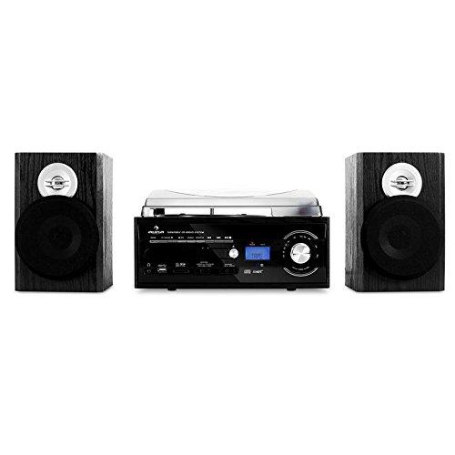 Auna TT-190 • Chaine stéréo • Chaine tout-en-un • Platine vinyle • Lecteur K7 • Enregistrement MP3 • 2 haut-parleurs • Lecteur CD MP3 • Ports USB et SD • AUX • Tuner radio • Compacte • Noir