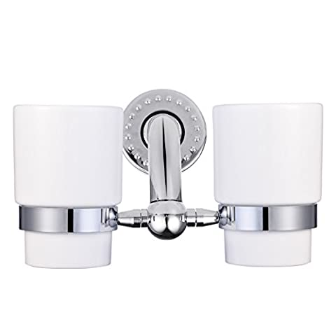BJJS® High Quality 304 Stainless Steel Wall Mounted Double Frosted Glass Toothbrush Tumbler Durable Bathroom Accessories Holder With Two Smooth Glass Cups