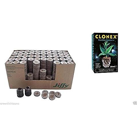 Suelo Jiffy 33mm x 43mm de propagación bloques x 60y clonex 50ml