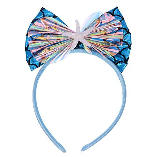 Kostüm Kinder Star - Amosfun Glitter Bogen Stirnband Pailletten Haarband Sea Star Kostüm Kopfschmuck für Kinder (blau)