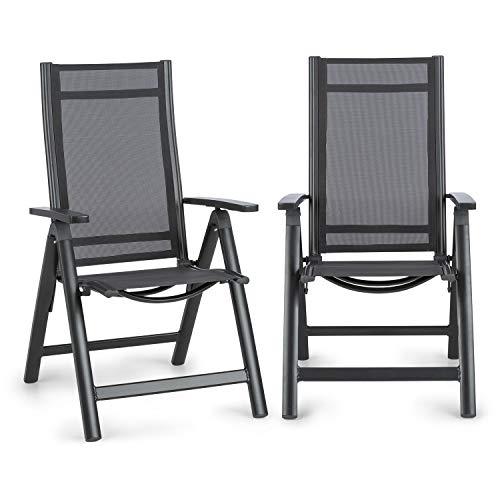 blumfeldt Cádiz Garden Chair - Gartenstuhl, Klappstuhl, 2-er-Set, 59,5 x 107 x 68 cm, Rückenlehne mit 7 Positionen, luftdurchlässiges & wasserresistentes Textilgewebe, Aluminium, anthrazit