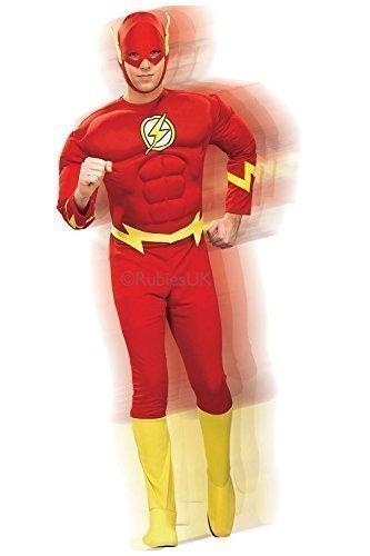 Rubies - Herren Deluxe The Flash Kostüm - Keine Angaben, Medium - Brust 96-101cm