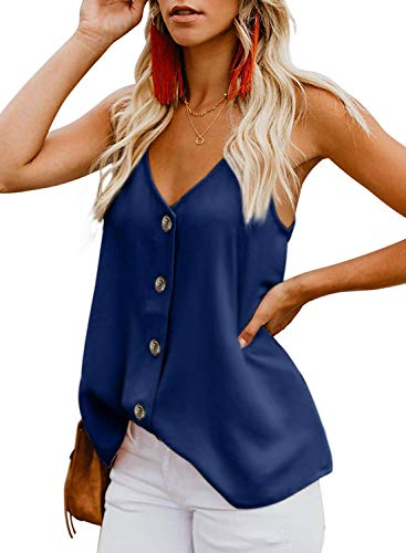 Romanstii tank top da donna,donna canotta maglietta senza maniche camicetta casual chiffon v-collo tops