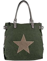cc81282c09303 OBC Ital-Design Stern Tasche Handtasche Leder Damentasche Canvas Baumwolle  Crossover…