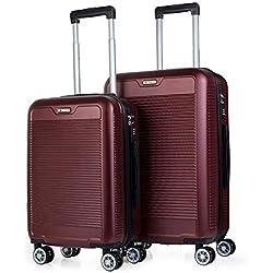 ITACA - Juego Maletas de Viaje Trolley Set 55/67 cm ABS. Rígidas, Resistentes y Ligeras. Mango, Asas, 4 Ruedas. Candado. Pequeña Cabina Low Cost Ryanair y Mediana. T72015, Color Rojo