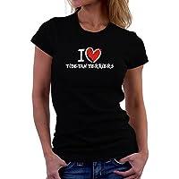Maglietta da donna I love Tibetan Terrier chalk style