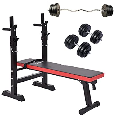 Costway Adjustable Folding Weight Bench,25Kg Barbell Bar Set,30Kg Dumbbell Set Multi Fitness Workout Home Gym Equipment by Costway