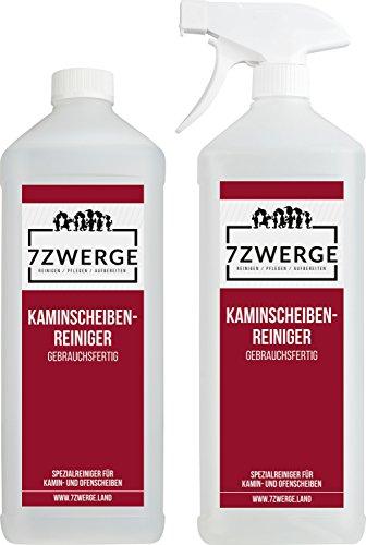 7Zwerge I 2x 1000ml Kaminscheiben-Reiniger mit Sprühkopf I selbsttätige Reinigung I Kamin-Glasreiniger I Ofen-Glasreiniger I Ruß-Entferner I Ofenspray