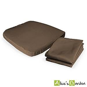 Alice's Garden - Deux housses de coussins marron pour fauteuils Palermo et fauteuils des tables Arezzo et Capri