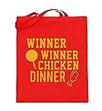 generisch Winner Winner Chicken Dinner - Tischtennisschläger vs. Hühnchenkeule - Jutebeutel (mit langen Henkeln) -38cm-42cm-Rubinrot