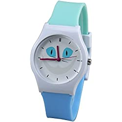 Leaders Dirigentes Kids Watch reloj de cuarzo reloj de tiempo profesor de lectura facil con suave silicona reloj banda Comodo para los niños Colorful Watches Cute Cat