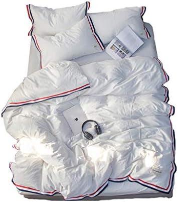 FMN Literie 100% Pur Coton Ensemble de 4 pièces pièces pièces avec Housse de Couette X1 X2 Taies d'oreiller et Drap-Housse X1 Blanc (Taille : 2.0m (Quilt Cover 220cmX240cm)) 931b16