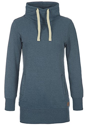 Weicher Pullover Kleid (Desires Jannika Damen Langes Sweatshirt Pullover Longpullover Mit Stehkragen Und Fleece-Innenseite, Größe:XS, Farbe:Ensign Blue (70260))