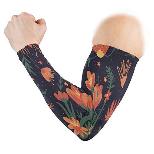 Malplee Ärmel-Kühler mit Blumen-Motiv, Anti-Sonne, lange Arme,