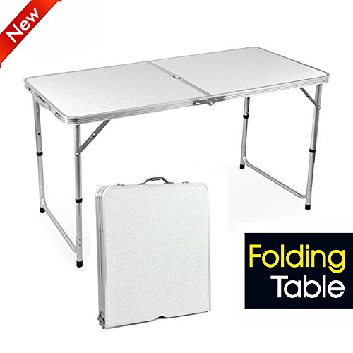 Popamazing Aluminum Portable Folding Camping Picnic Party Dining Table - 120cm x 60cm(L & W) - with Adjustable Leg (White, 4FT)