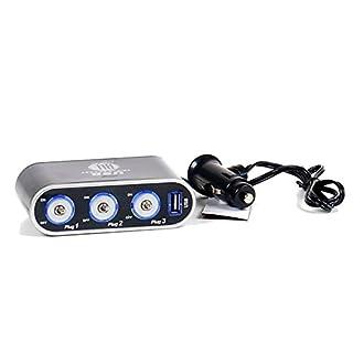 All Ride 3-Fach Steckdose/USB-Adapter 5A, selbstklebend, einzeln geschaltet, beleuchtet, 1 x USB, 12V 24V