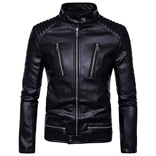 Lässige synthetische Lederjacke für Herren Fashion Ribbed Windbreaker,Black,XXXXL