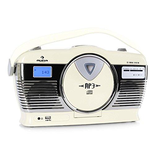 auna RCD-70 • UKW Radio • Retro Look • Nostalgie Design • MP3-fähiger USB-Port • Frontlader CD- und MP3-Player • LCD-Display • programmierbare Wiedergabe • Zufallswiedergabe • Kopfhörer-Ausgang • Netz- und Batterie-Betrieb • Tragegriff • creme