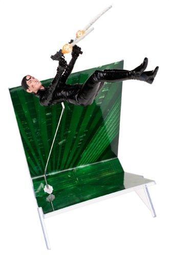 Matrix - 2003 - Matrix Reloaded - Sammelfigur - Serie 2 - TRINITY Falls - ca. 16 cm / 6' - Display Stand und Waffen