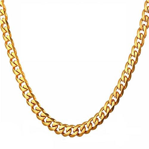 Preisvergleich Produktbild Tuokay 18K Vergoldet Herren Halskette, 24 Zoll x 7mm Edelstahl Halskette, Nachbilden Gold Kette, Flache Panzerkette, Glitzern und Hübsch