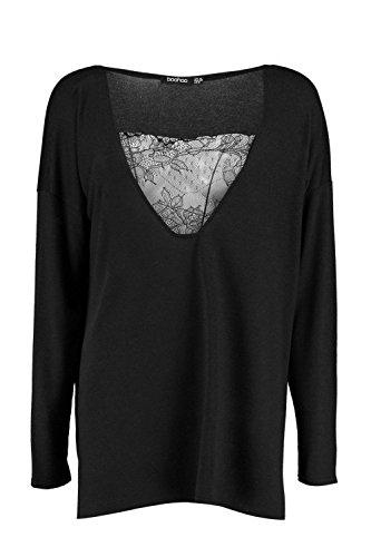 Noir Femme Aleesha Plunge Lace Premium Long Sleeve Top Noir