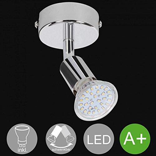 FineBuy 1-flammiger LED-Spot Drehbar Warmweiß EEK A+ inkl. 3 Watt Leuchtmittel | Wandlampe IP20 Diele Flur GU10 Fassung | Deckenleuchte Deckenlampe Wohnzimmer Schlafzimmer Kinderzimmer