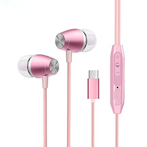 YANSHG® USB Typ C Metall Ohrhörer Headset Kopfhörer Bass Stereo Kopfhörer mit Mikrofon