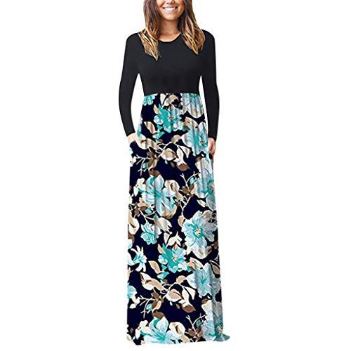 Damen Langarm Maxi Kleid mit Taschen Langarm Rundhals Hohe Taille Blumenkleid Falten A Linien Pockets Elegant Lady Blumendruck Lässig Langkleid Faltenkleid -