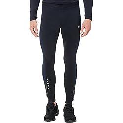 Ultrasport Pantalones largos de correr para hombre, con efecto de compresión y función de secado rápido, Negro/Azul Victoria, L