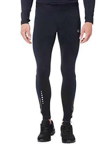 Ultrasport Herren Laufhose Thermo-Dynamic lang, gefüttert mit Quick-Dry-Funktion, schwarz/viktoria blau, 2XL
