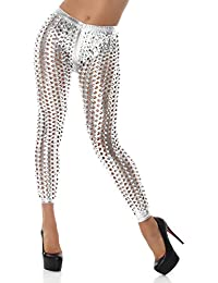 Women's Leggings Cutouts Gogo Hole Look Leather Look Wet Look Gloss Silver 8-10