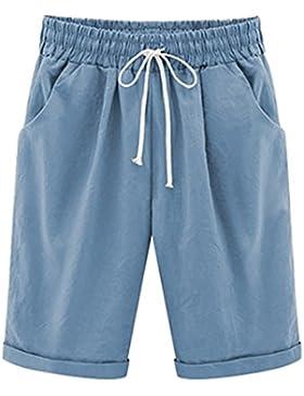 Donna Estate Casual Taglie Forti Lunghezza Elasticizzati Pantaloncini Pantaloni Eleganti Coulisse Elastico Cotone...